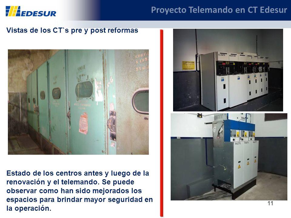 11 Proyecto Telemando en CT Edesur Vistas de los CT`s pre y post reformas Estado de los centros antes y luego de la renovación y el telemando. Se pued