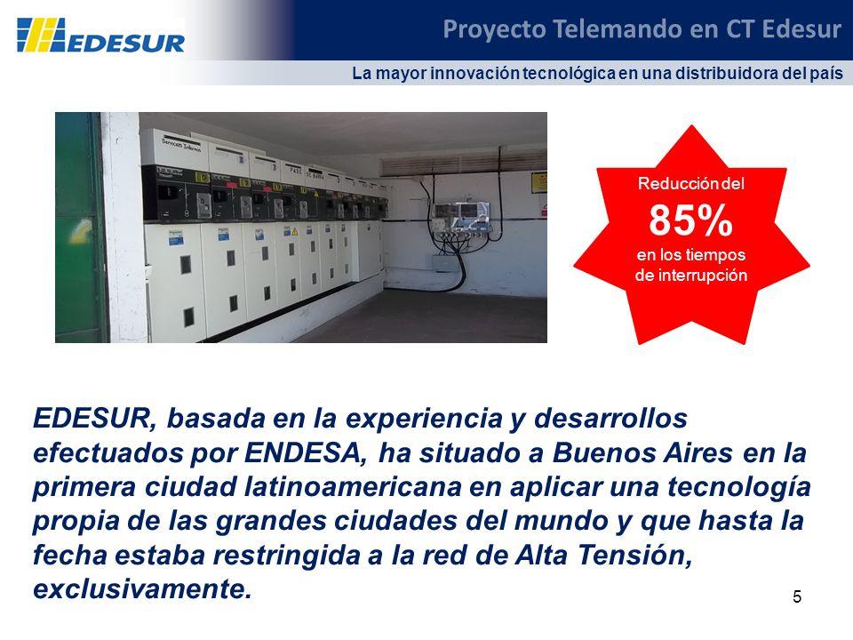 5 La mayor innovación tecnológica en una distribuidora del país Reducción del 85% en los tiempos de interrupción Proyecto Telemando en CT Edesur EDESU