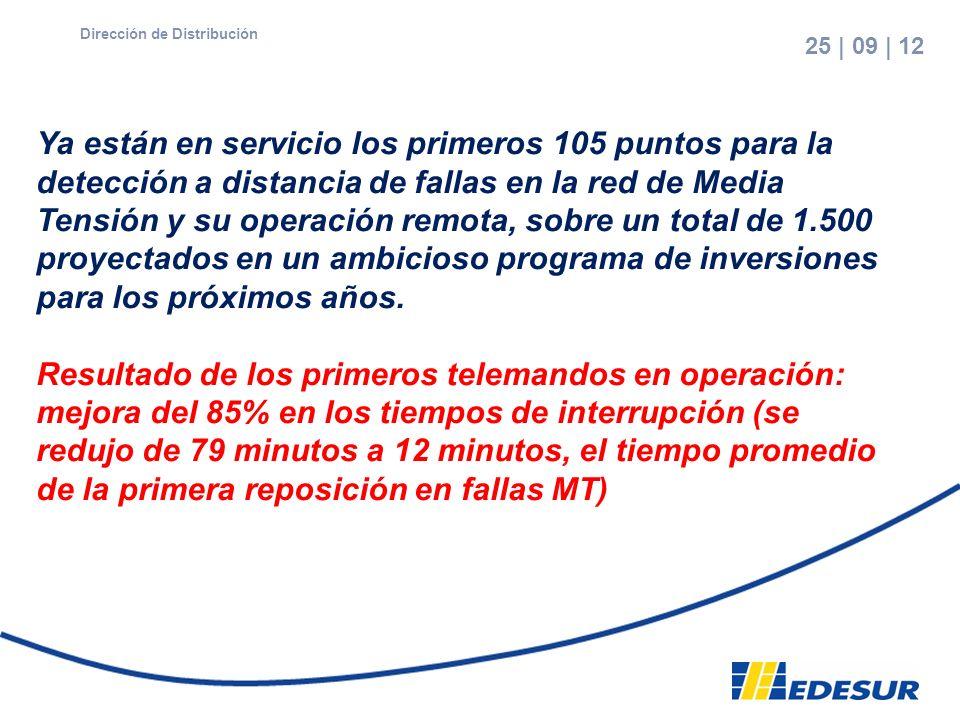 7 25 | 09 | 12 edesur Dirección de Distribución Ya están en servicio los primeros 105 puntos para la detección a distancia de fallas en la red de Medi