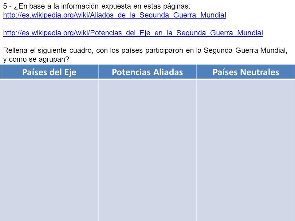 5 - ¿En base a la información expuesta en estas páginas: http://es.wikipedia.org/wiki/Aliados_de_la_Segunda_Guerra_Mundial http://es.wikipedia.org/wik