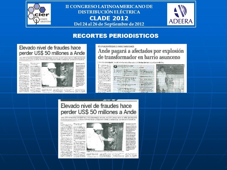 RECORTES PERIODISTICOS II CONGRESO LATINOAMERICANO DE DISTRIBUCIÓN ELÉCTRICA CLADE 2012 Del 24 al 26 de Septiembre de 2012