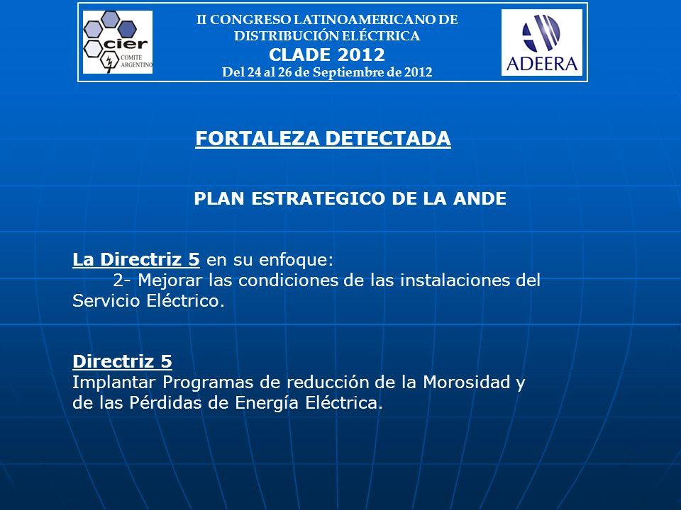 PLAN ESTRATEGICO DE LA ANDE La Directriz 5 en su enfoque: 2- Mejorar las condiciones de las instalaciones del Servicio Eléctrico.