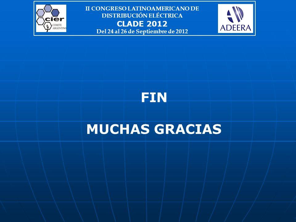 FIN MUCHAS GRACIAS II CONGRESO LATINOAMERICANO DE DISTRIBUCIÓN ELÉCTRICA CLADE 2012 Del 24 al 26 de Septiembre de 2012