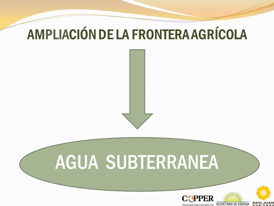AMPLIACIÓN DE LA FRONTERA AGRÍCOLA AGUA SUBTERRANEA