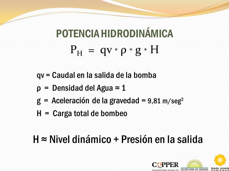 POTENCIA HIDRODINÁMICA P H = qv * ρ * g * H qv = Caudal en la salida de la bomba ρ = Densidad del Agua 1 g = Aceleración de la gravedad = 9,81 m/seg 2