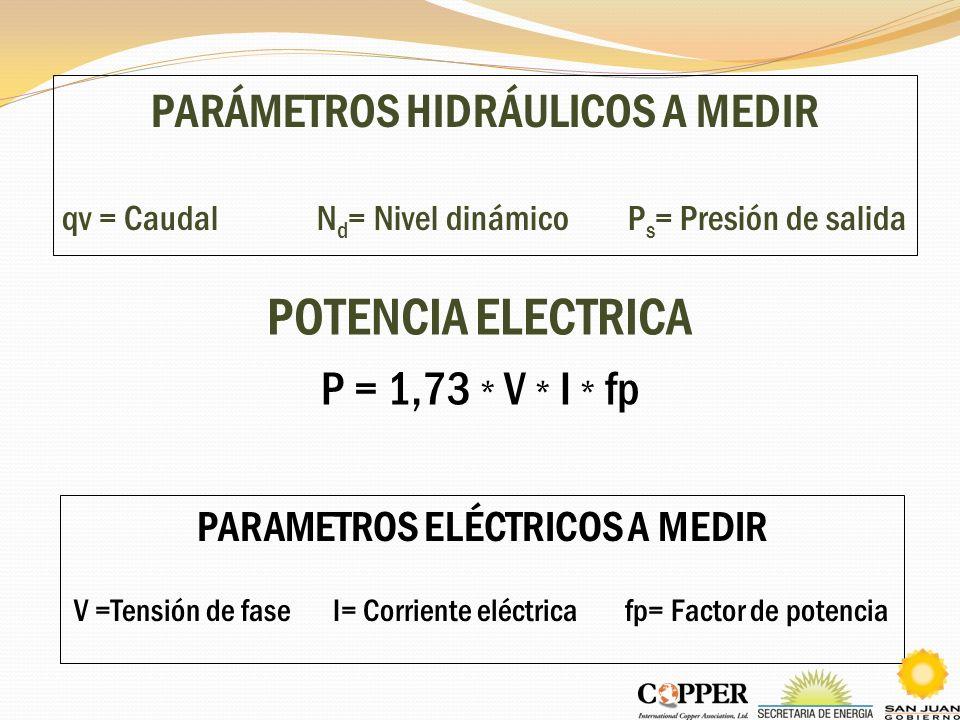 PARÁMETROS HIDRÁULICOS A MEDIR qv = Caudal N d = Nivel dinámico P s = Presión de salida POTENCIA ELECTRICA P = 1,73 * V * I * fp PARAMETROS ELÉCTRICOS