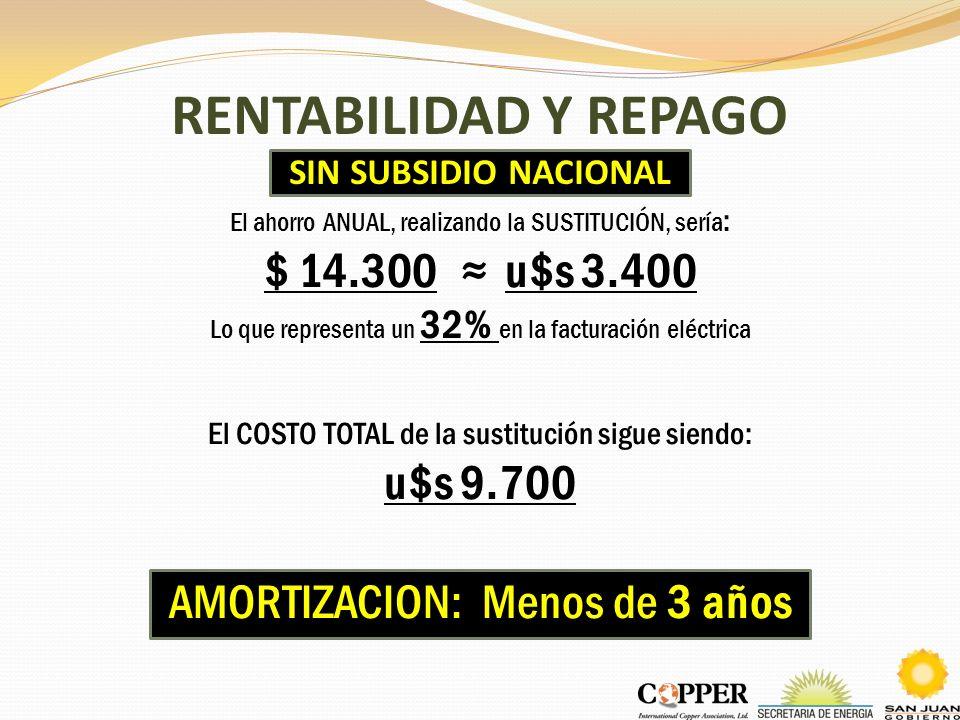 RENTABILIDAD Y REPAGO SIN SUBSIDIO NACIONAL El ahorro ANUAL, realizando la SUSTITUCIÓN, sería : $ 14.300 u$s 3.400 Lo que representa un 32% en la fact