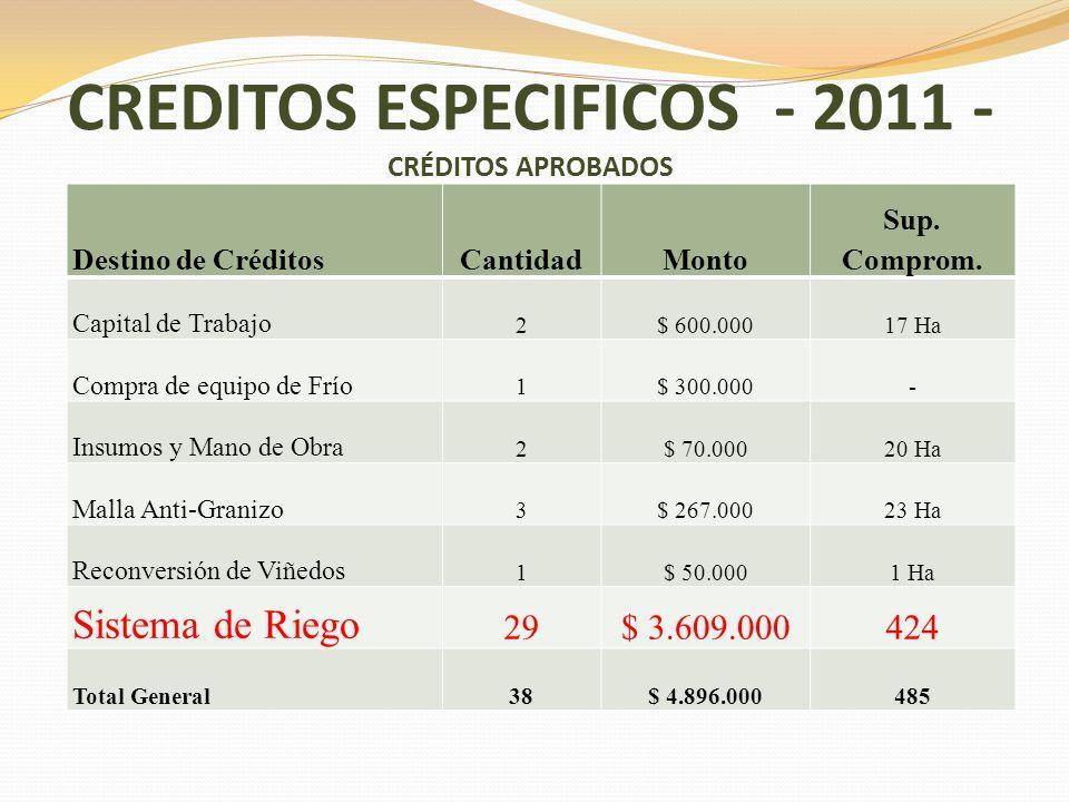 CREDITOS ESPECIFICOS - 2011 - CRÉDITOS APROBADOS Destino de CréditosCantidadMonto Sup. Comprom. Capital de Trabajo 2$ 600.00017 Ha Compra de equipo de