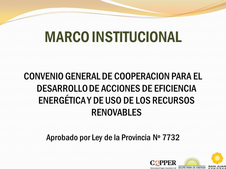 MARCO INSTITUCIONAL CONVENIO GENERAL DE COOPERACION PARA EL DESARROLLO DE ACCIONES DE EFICIENCIA ENERGÉTICA Y DE USO DE LOS RECURSOS RENOVABLES Aproba