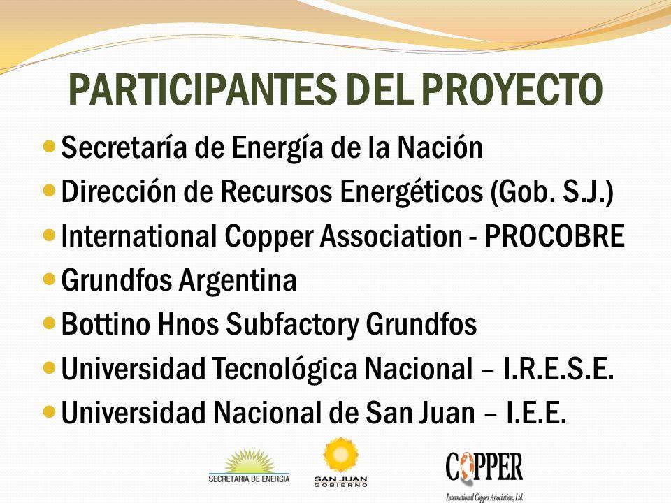 PARTICIPANTES DEL PROYECTO Secretaría de Energía de la Nación Dirección de Recursos Energéticos (Gob. S.J.) International Copper Association - PROCOBR