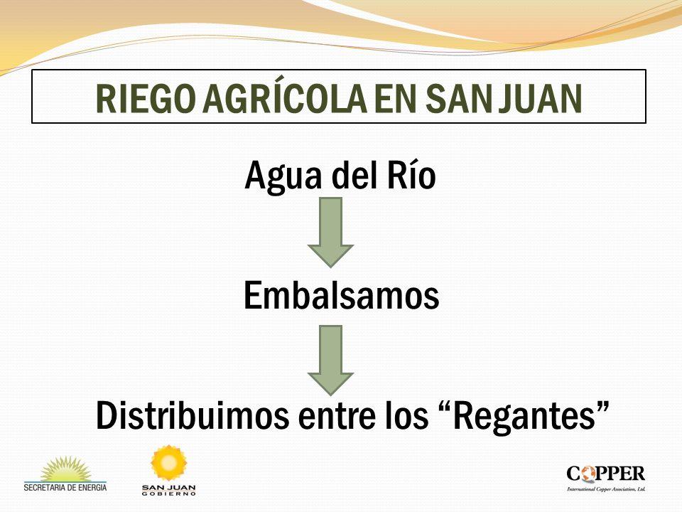 RIEGO AGRÍCOLA EN SAN JUAN Agua del Río Embalsamos Distribuimos entre los Regantes