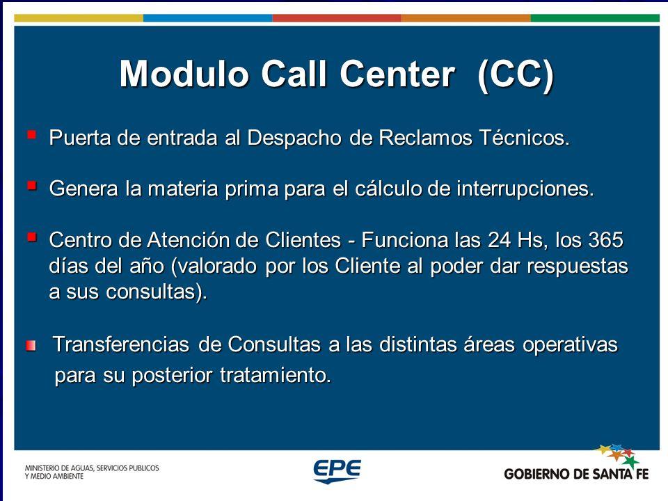 Modulo Call Center (CC) Puerta de entrada al Despacho de Reclamos Técnicos. Genera la materia prima para el cálculo de interrupciones. Genera la mater
