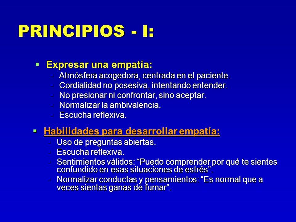 PRINCIPIOS - I: Expresar una empatía: Expresar una empatía: Atmósfera acogedora, centrada en el paciente. Atmósfera acogedora, centrada en el paciente