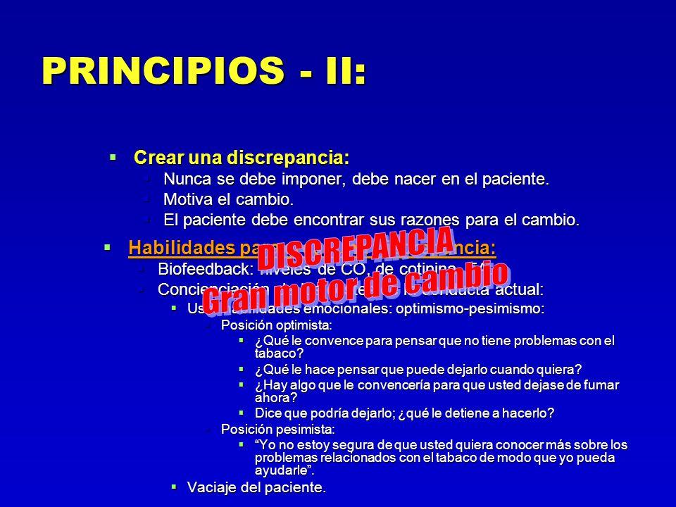 PRINCIPIOS - II: Crear una discrepancia: Crear una discrepancia: Nunca se debe imponer, debe nacer en el paciente. Nunca se debe imponer, debe nacer e