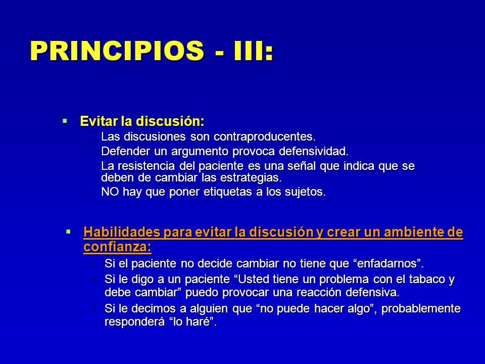 PRINCIPIOS - III: Evitar la discusión: Evitar la discusión: Las discusiones son contraproducentes. Las discusiones son contraproducentes. Defender un