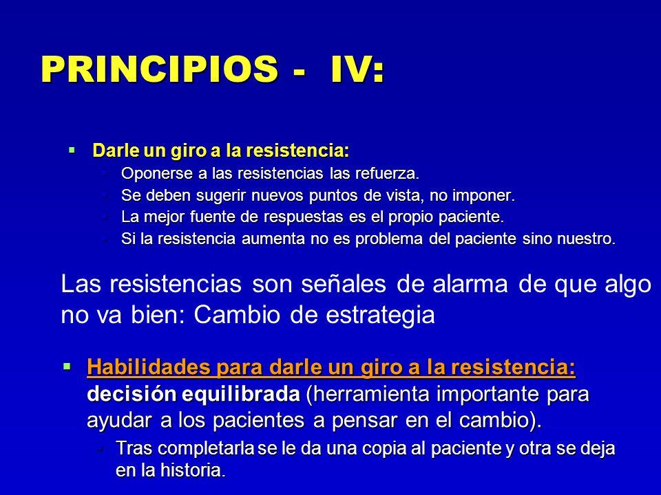 PRINCIPIOS - IV: Darle un giro a la resistencia: Darle un giro a la resistencia: Oponerse a las resistencias las refuerza. Oponerse a las resistencias