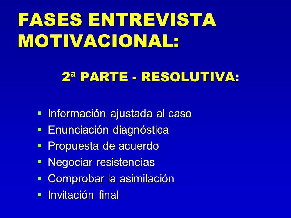 FASES ENTREVISTA MOTIVACIONAL: 2ª PARTE - RESOLUTIVA: Información ajustada al caso Información ajustada al caso Enunciación diagnóstica Enunciación di