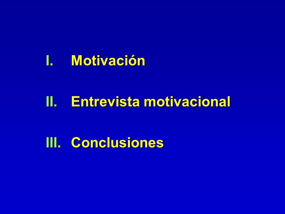 I.Motivación II.Entrevista motivacional III.Conclusiones