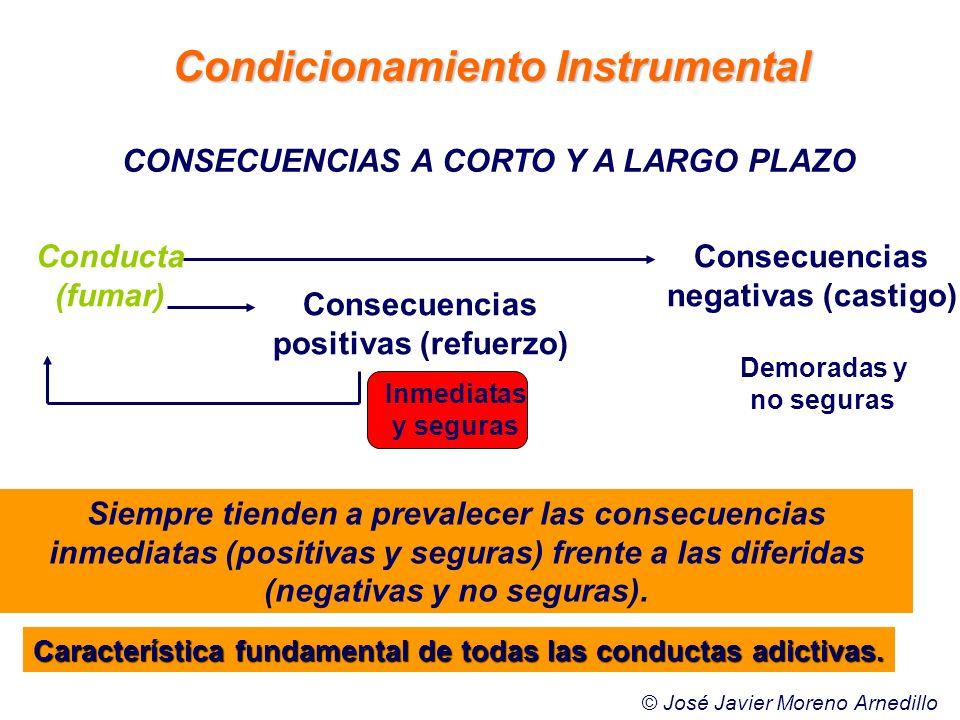 Demoradas y no seguras CONSECUENCIAS A CORTO Y A LARGO PLAZO Conducta (fumar) Consecuencias positivas (refuerzo) Consecuencias negativas (castigo) Sie