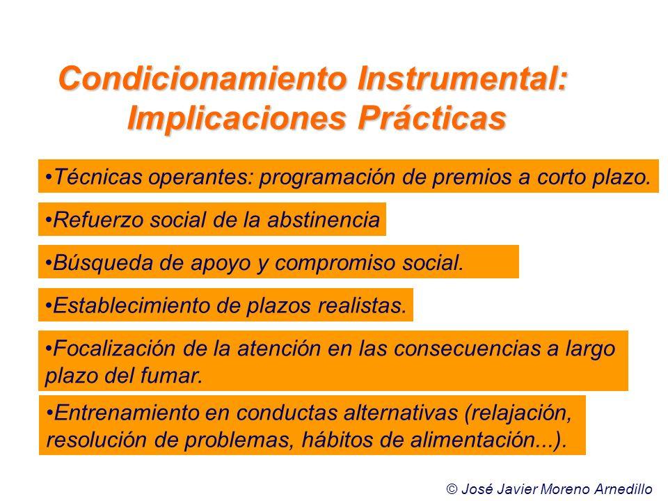 Técnicas operantes: programación de premios a corto plazo. Búsqueda de apoyo y compromiso social. Establecimiento de plazos realistas. Focalización de