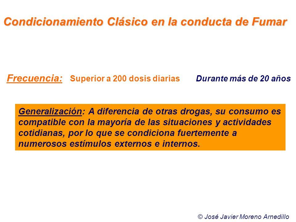 Frecuencia: Superior a 200 dosis diariasDurante más de 20 años Generalización: A diferencia de otras drogas, su consumo es compatible con la mayoría d