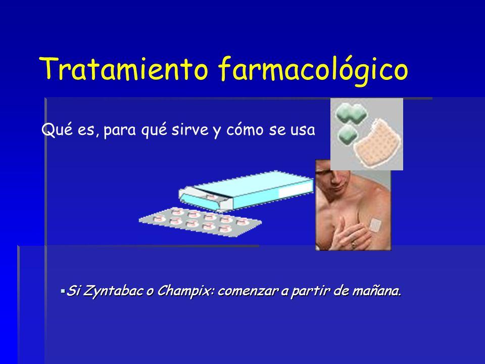 Tratamiento farmacológico Qué es, para qué sirve y cómo se usa Si Zyntabac o Champix: comenzar a partir de mañana. Si Zyntabac o Champix: comenzar a p