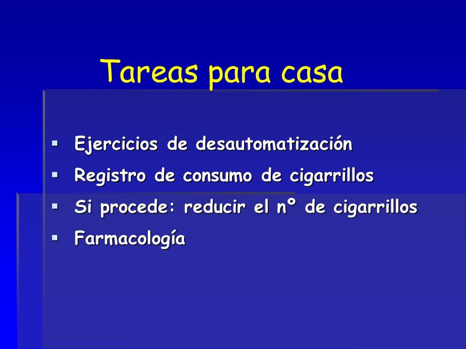 Tareas para casa Ejercicios de desautomatización Ejercicios de desautomatización Registro de consumo de cigarrillos Registro de consumo de cigarrillos