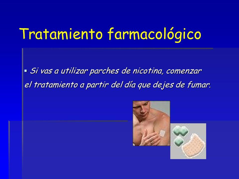 Tratamiento farmacológico Si vas a utilizar parches de nicotina, comenzar Si vas a utilizar parches de nicotina, comenzar el tratamiento a partir del
