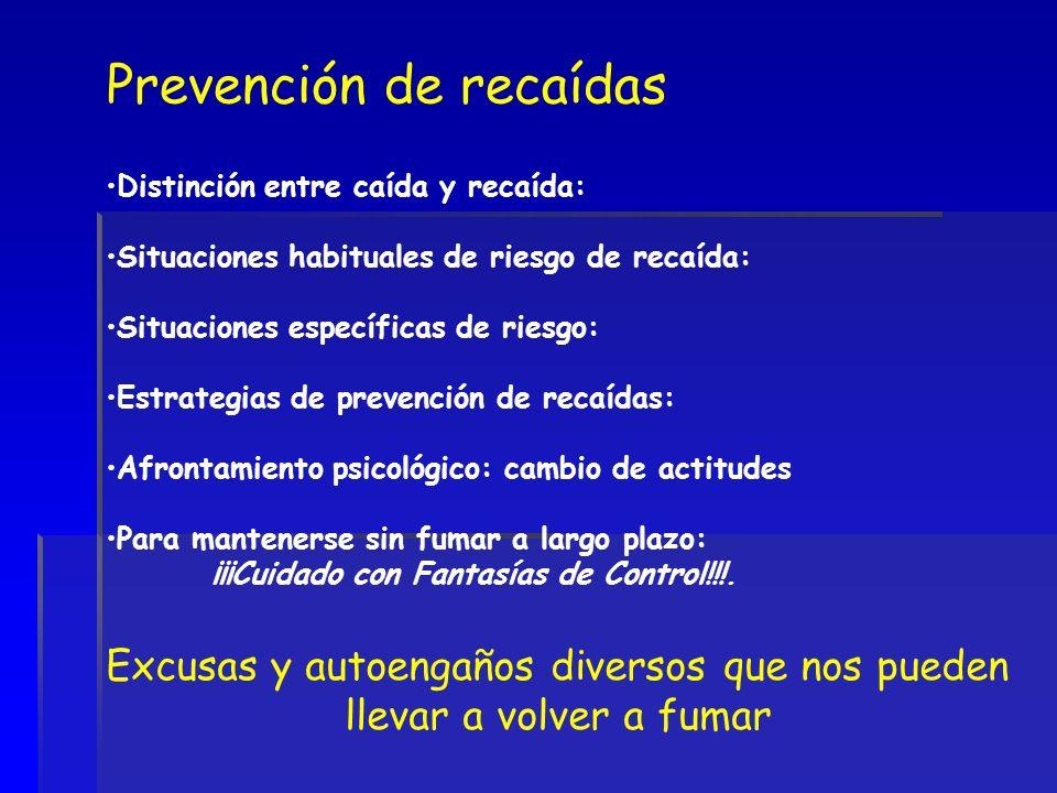 Prevención de recaídas Distinción entre caída y recaída: Situaciones habituales de riesgo de recaída: Situaciones específicas de riesgo: Estrategias d
