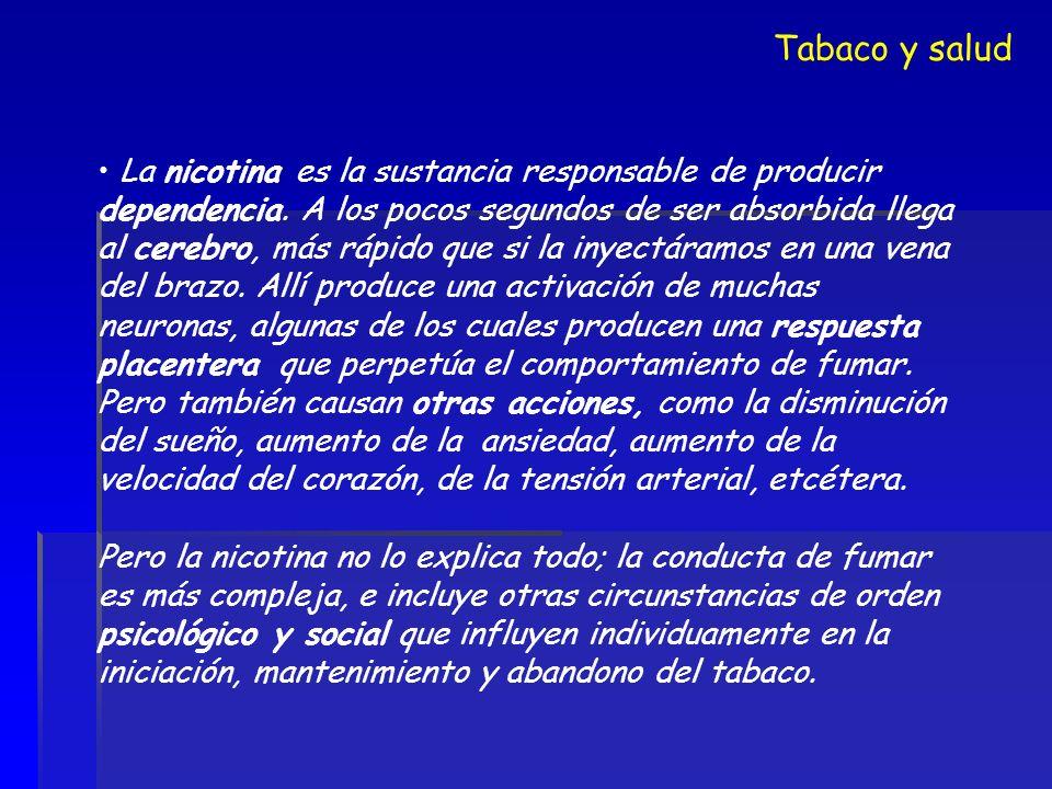 La nicotina es la sustancia responsable de producir dependencia. A los pocos segundos de ser absorbida llega al cerebro, más rápido que si la inyectár