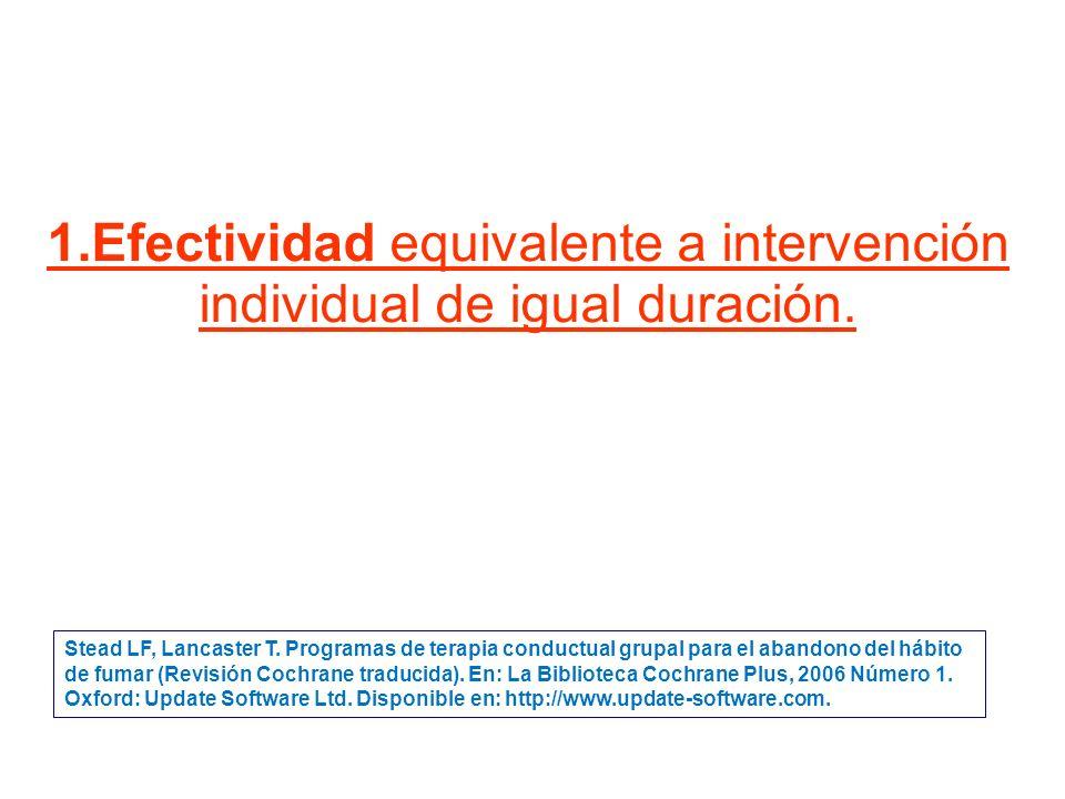 1.Efectividad equivalente a intervención individual de igual duración.