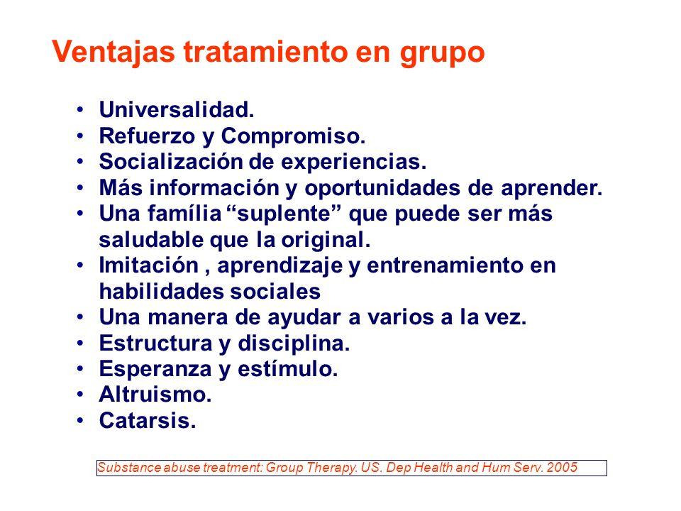 Universalidad. Refuerzo y Compromiso. Socialización de experiencias.