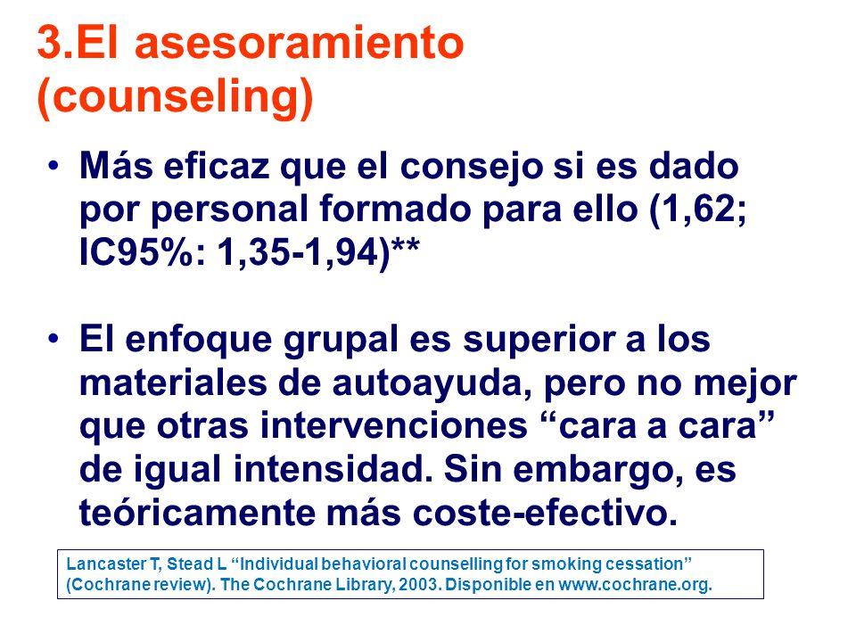 Más eficaz que el consejo si es dado por personal formado para ello (1,62; IC95%: 1,35-1,94)** El enfoque grupal es superior a los materiales de autoayuda, pero no mejor que otras intervenciones cara a cara de igual intensidad.
