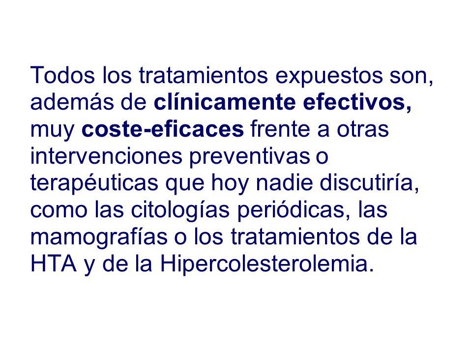 Todos los tratamientos expuestos son, además de clínicamente efectivos, muy coste-eficaces frente a otras intervenciones preventivas o terapéuticas que hoy nadie discutiría, como las citologías periódicas, las mamografías o los tratamientos de la HTA y de la Hipercolesterolemia.