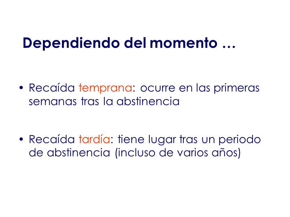 Dependiendo del momento … Recaída temprana: ocurre en las primeras semanas tras la abstinencia Recaída tardía: tiene lugar tras un periodo de abstinen