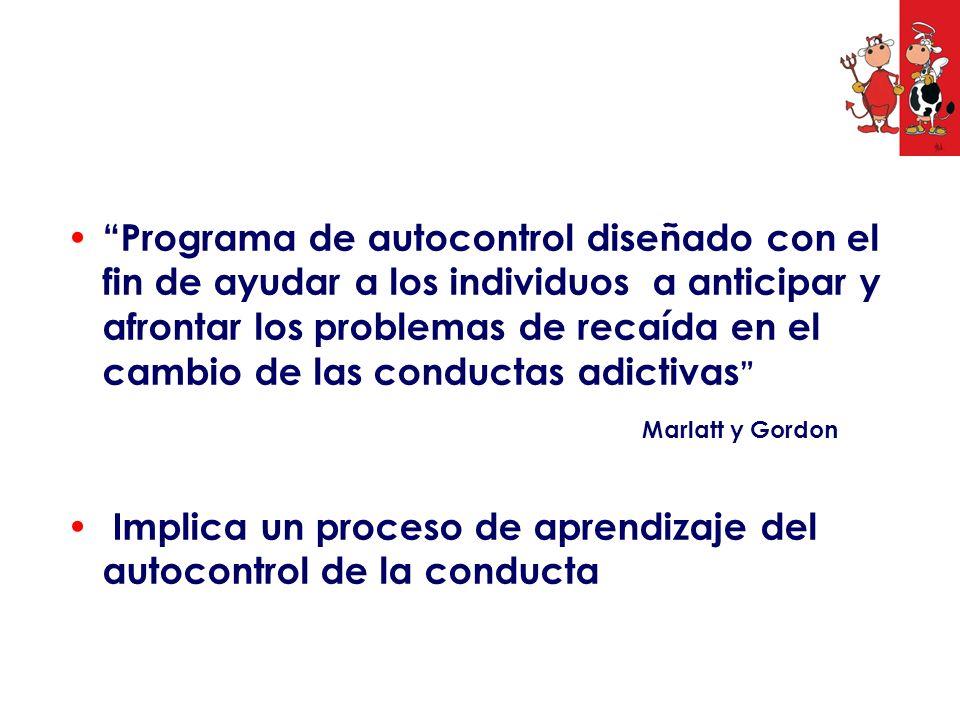 Programa de autocontrol diseñado con el fin de ayudar a los individuos a anticipar y afrontar los problemas de recaída en el cambio de las conductas a