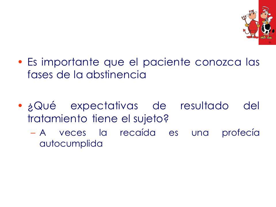 Es importante que el paciente conozca las fases de la abstinencia ¿Qué expectativas de resultado del tratamiento tiene el sujeto? –A veces la recaída