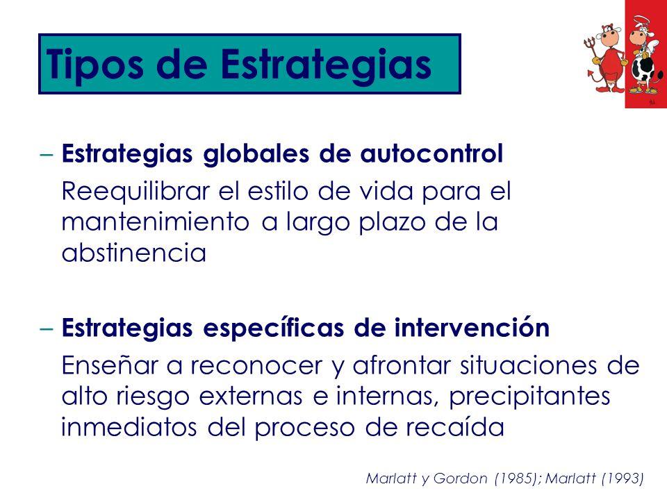 – Estrategias globales de autocontrol Reequilibrar el estilo de vida para el mantenimiento a largo plazo de la abstinencia – Estrategias específicas d
