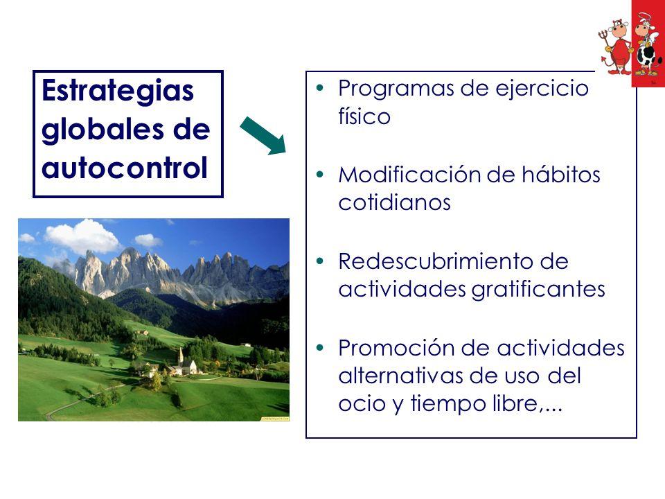 Estrategias globales de autocontrol Programas de ejercicio físico Modificación de hábitos cotidianos Redescubrimiento de actividades gratificantes Pro