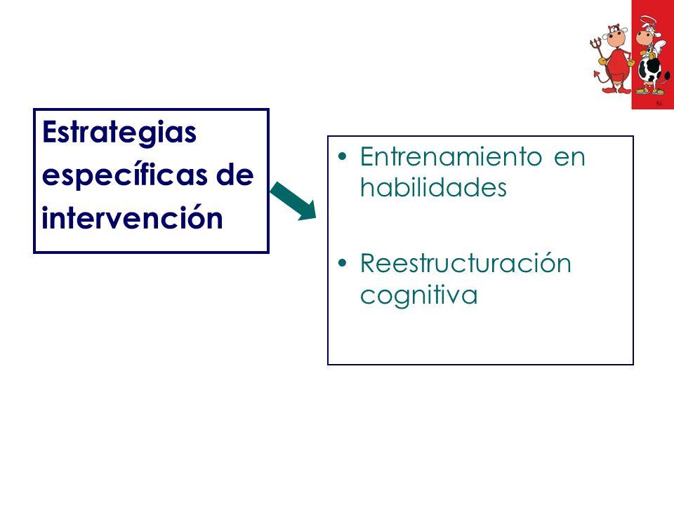 Estrategias específicas de intervención Entrenamiento en habilidades Reestructuración cognitiva