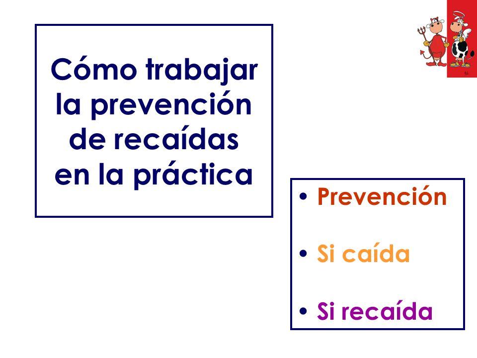 Cómo trabajar la prevención de recaídas en la práctica Prevención Si caída Si recaída