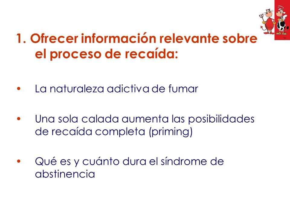 1. Ofrecer información relevante sobre el proceso de recaída: La naturaleza adictiva de fumar Una sola calada aumenta las posibilidades de recaída com