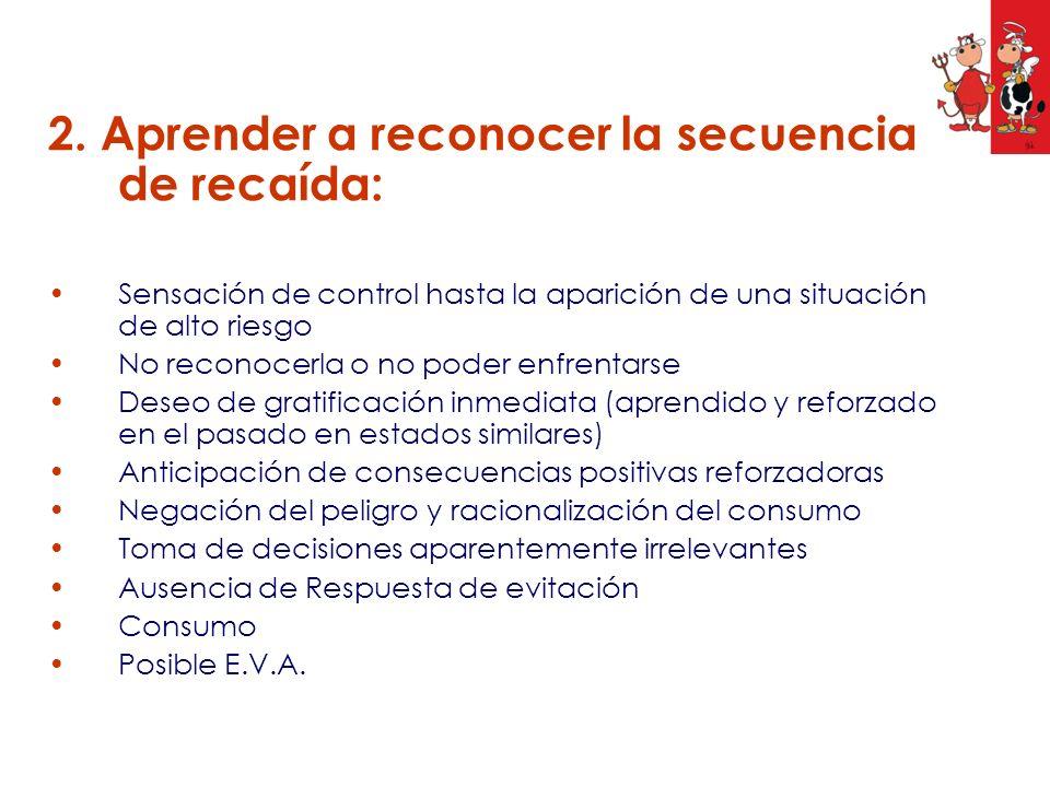 2. Aprender a reconocer la secuencia de recaída: Sensación de control hasta la aparición de una situación de alto riesgo No reconocerla o no poder enf