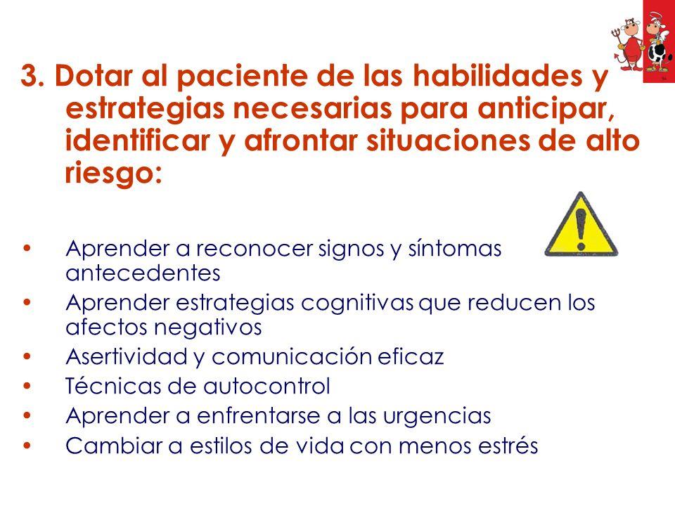 3. Dotar al paciente de las habilidades y estrategias necesarias para anticipar, identificar y afrontar situaciones de alto riesgo: Aprender a reconoc