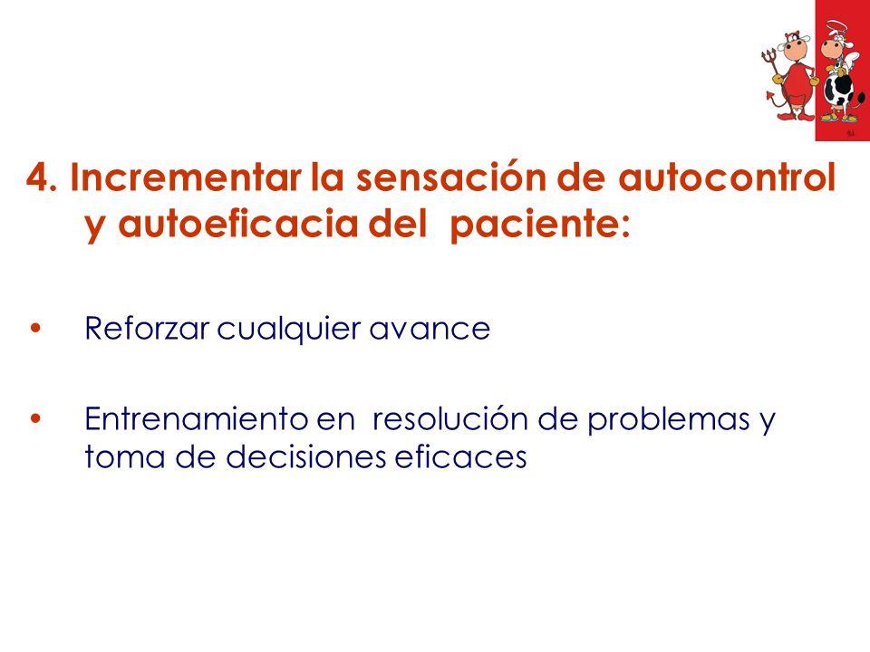 4. Incrementar la sensación de autocontrol y autoeficacia del paciente: Reforzar cualquier avance Entrenamiento en resolución de problemas y toma de d