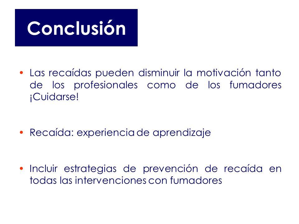 Conclusión Las recaídas pueden disminuir la motivación tanto de los profesionales como de los fumadores ¡Cuidarse! Recaída: experiencia de aprendizaje