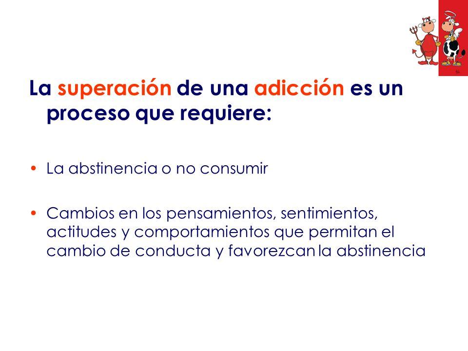 La superación de una adicción es un proceso que requiere: La abstinencia o no consumir Cambios en los pensamientos, sentimientos, actitudes y comporta