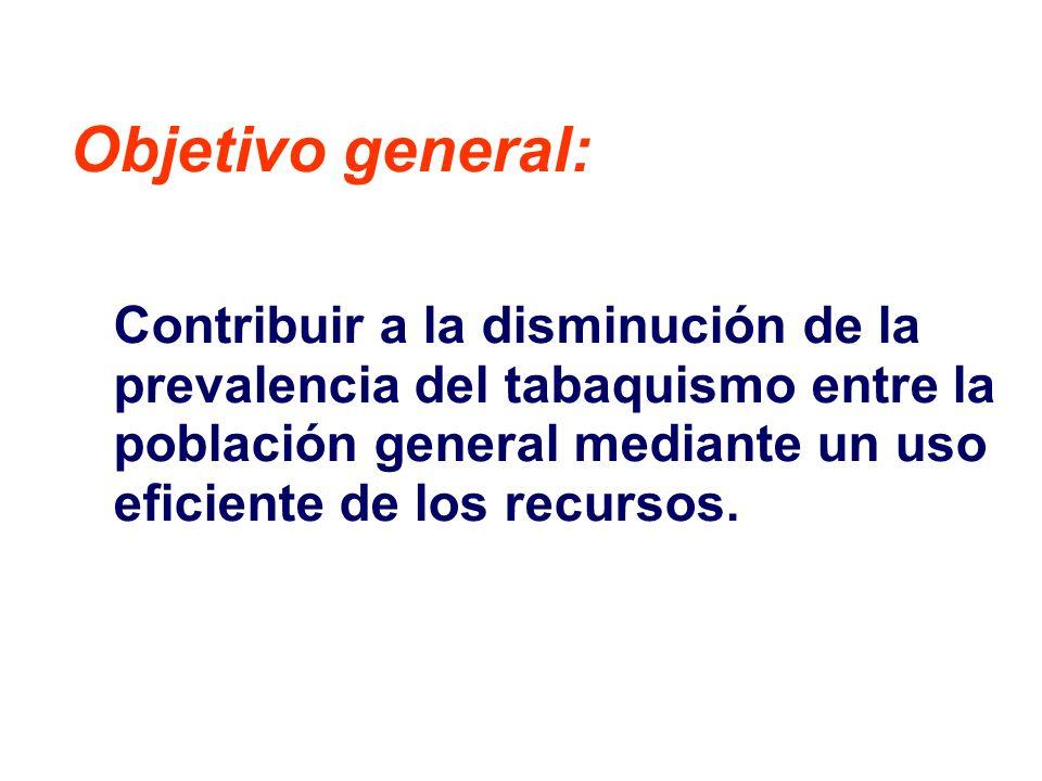 Objetivo general: Contribuir a la disminución de la prevalencia del tabaquismo entre la población general mediante un uso eficiente de los recursos.