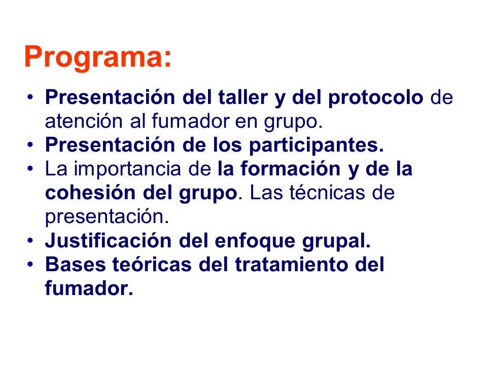 Programa: Presentación del taller y del protocolo de atención al fumador en grupo.