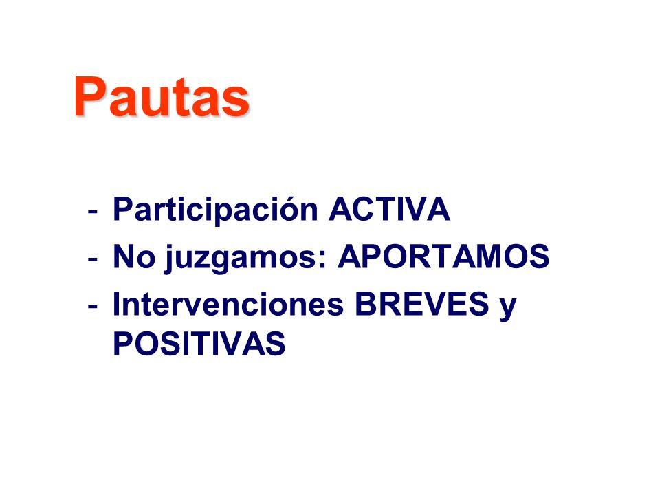 -Participación ACTIVA -No juzgamos: APORTAMOS -Intervenciones BREVES y POSITIVAS Pautas